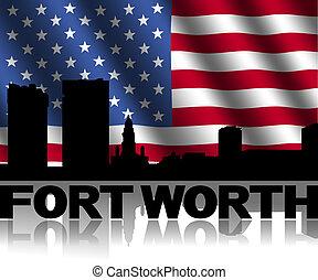 texte, drapeau, américain, illustration, reflété, horizon, ondulé, valeur, fort