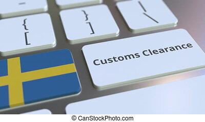 texte, drapeau, douane, ou, informatique, exportation, keyboard., animation, conceptuel, importation, dégagement, 3d, apparenté, suède