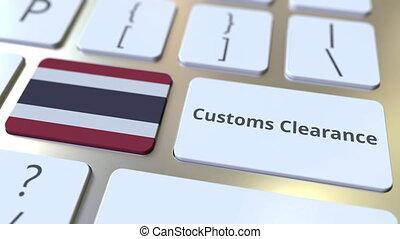 texte, drapeau, douane, ou, informatique, exportation, thaïlande, keyboard., animation, conceptuel, importation, dégagement, 3d, apparenté