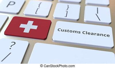 texte, drapeau, douane, ou, suisse, exportation, informatique, keyboard., animation, conceptuel, importation, dégagement, 3d, apparenté