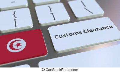 texte, drapeau, douane, tunisie, ou, informatique, exportation, keyboard., animation, conceptuel, importation, dégagement, 3d, apparenté
