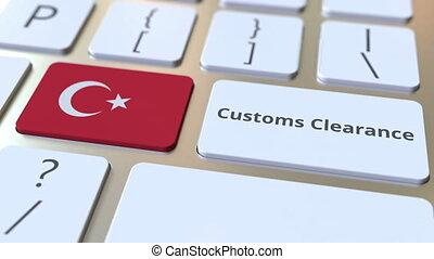 texte, drapeau, douane, turquie, ou, exportation, informatique, keyboard., animation, conceptuel, importation, dégagement, 3d, apparenté