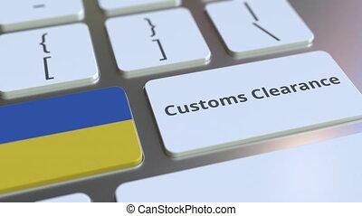 texte, drapeau, douane, ukraine, ou, informatique, exportation, keyboard., animation, conceptuel, importation, dégagement, 3d, apparenté