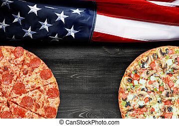 texte, drapeau, endroit, américain