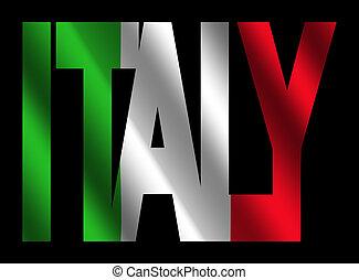texte, drapeau, italie, italien
