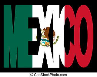 texte, drapeau, mexique