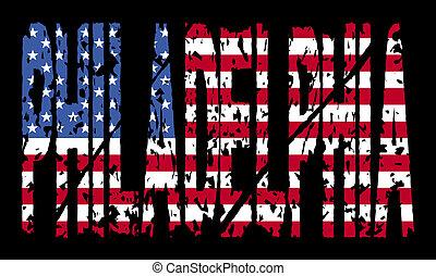 texte, drapeau, philadelphie