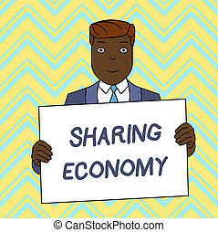 texte, economy., signe, économique, vide, sourire, basé, accès, planche, tenue, complet, conceptuel, homme, partage, photo, grand, projection, affiche, devant, formel, marchandises, himself., modèle, fournir