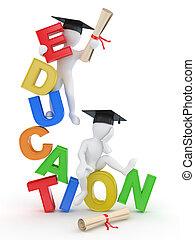 texte, education., homme, 3d