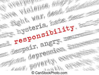 texte, effet, foyer, responsabilité, blured, zoom