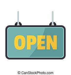 texte, enseigne, isolé, illustration, métallique, vecteur, conception, fond, blanc, ouvert, ton
