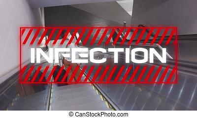 texte, escalator, femme, infection, utilisation, contre