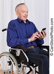 texte, fauteuil roulant, message, ponçage, homme