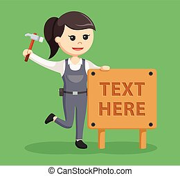 texte, femme, charpentier, signe bois
