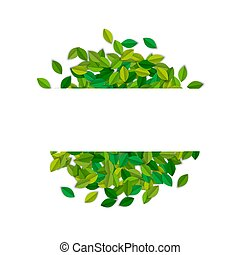 texte, feuilles, arbre, étiquette, vert, gabarit, vide
