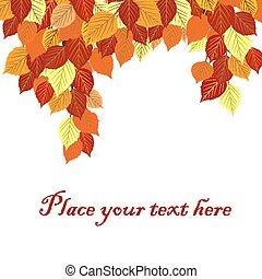 texte, feuilles, automne, endroit, fond, ton