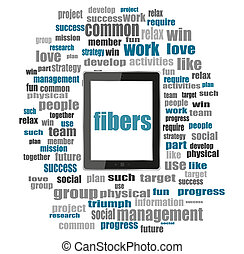 texte, fibers., social, concept, ., mot, collage, à, pc tablette