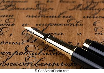 texte, fontaine, encre, papier, stylo