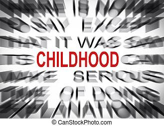 texte, foyer, blured, enfance