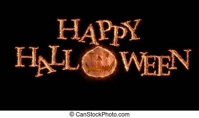 texte, halloween, incandescent, animation, arrière-plan noir, orange, heureux