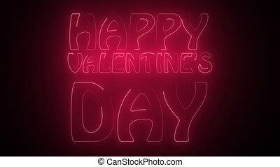 texte, heureux, néon, jour, valentine
