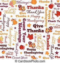texte, heureux, typographic., seamless, donner, remerciement, vecteur, bénédictions, thanksgiving, pattern.