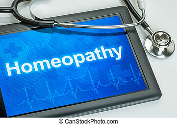 texte, homéopathie, exposer, tablette