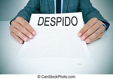 texte, homme affaires, despido, document, dissmissal, spectacles