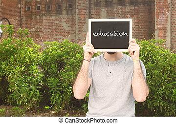 """texte, homme, tableau, tenue, """"education"""""""
