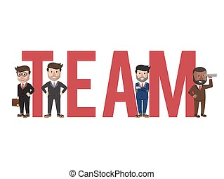 texte, illustration affaires, équipe