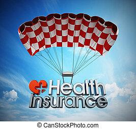 texte, illustration, parachute., santé, atterrissage, assurance, 3d