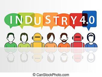 texte, industrie, concept, 4.0, automation