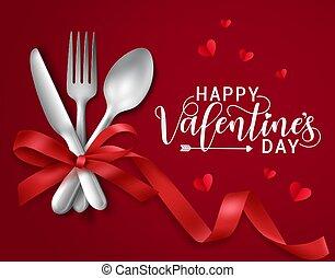 texte, jour, valentines, romantique, vecteur, bannière, dater, template., elements., salutation, heureux