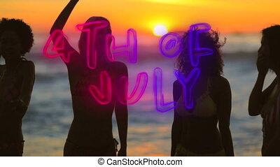 texte, juillet, gens, plage, 4ème, partying