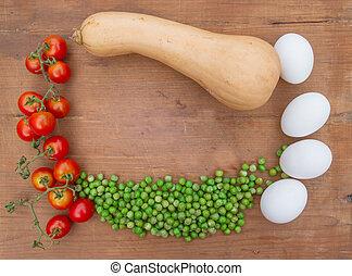 texte, légumes, bois, endroit