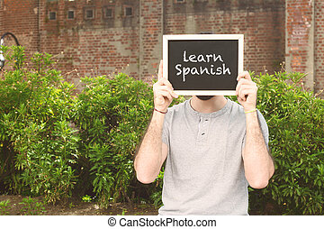 "texte, ""learn, tableau, tenue, spanish"", homme"