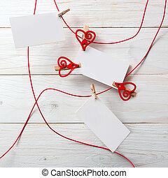 texte, love., hearts.symbol, vide, carte, pinces