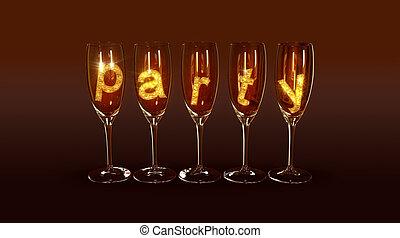 """texte, lunettes, peu, """"party"""""""
