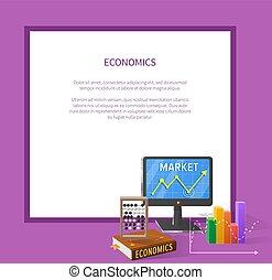 texte, marché, économique, dessin animé, illustration