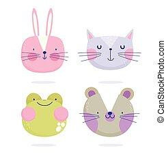 texte, mignon, dessin animé, chat, souris, faces, lapin, animaux, grenouille