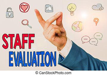 texte, mot, écriture, s, revue, business, personnel, concept, ouvrier, métier, perforanalysisce., évaluation, evaluation.