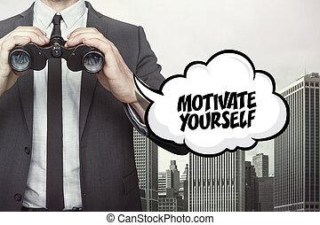 texte, motiver, vous-même, jumelles, parole, tenue, homme affaires, bulle