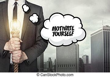 texte, motiver, vous-même, parole, homme affaires, bulle