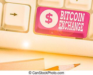 texte, où, commerçants, business, vendre, exchange., marché, bitcoins., écriture, boîte, main, achat, bitcoin, conceptuel, photo, projection, numérique