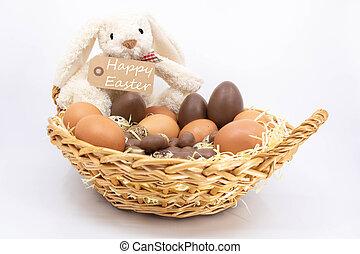 texte, oeufs, panier, lapin pâques, heureux