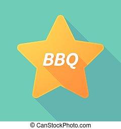 texte, ombre, étoile, barbecue, long