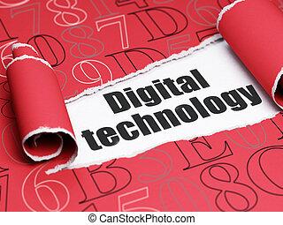 texte, papier déchiré, noir, numérique, sous, technologie, morceau, données, concept: