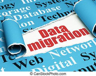 texte, papier déchiré, rouges, sous, morceau, données, concept:, migration