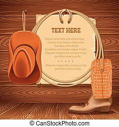 texte, papier, vieux, américain, lasso., bois, chapeau, vecteur, cow-boy, walll