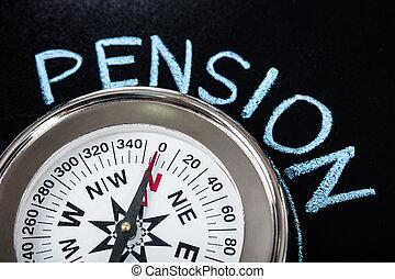 texte, pension, compas